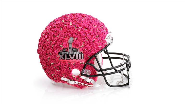 Betsey Johnson Super Bowl helmet