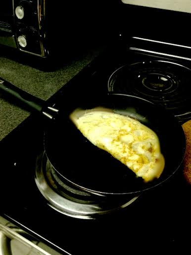 Omelet on stove
